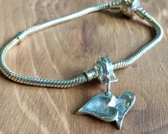 Silver Fingerprint charm for Pandora bracelet, Fingerprint bracelet charm, silver fingerprint, Pandora charm, silver charm, keepsake charm