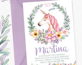 watercolor unicorn birthday party printable invitation