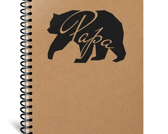 Papa Bear Notebook, Valentines Day Gift, Boyfriend, Husband, Father, Pop, Grandpa, Grandfather, Fiance Gift, Journal, Diary, Paper