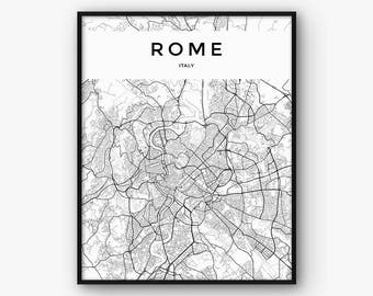 Rome Map Print, Rome Print, Italy Print, Rome Poster, Rome Decor, Italy Poster, Rome Wall Art, Rome Printable Map, Black and White Map