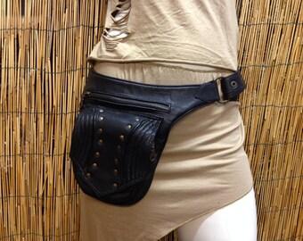 Fanny Pack hip shoulder Hip Bag Handbag travel bag of fur leather / black / strap / hand made / Unisex