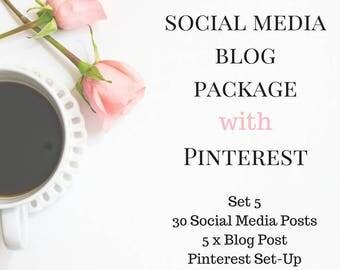 Social Media & Blogging Support Plan with Pinterest - Pinterest and Social Media Posts - 5 Blog Posts with Pinterest