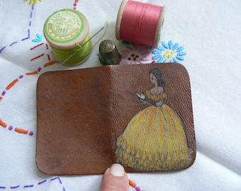 30s 40s leather needlecase with crinoline lady decoration