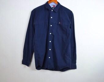 VINTAGE - navy blue tommy hilfger oxford button up