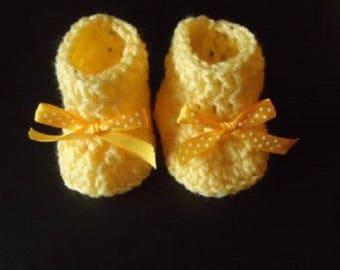 Baby Booties, Infant Yellow Booties, Crochet Booties, Baby Girl Gift, Infant Baby Shower Gift, Handmade, Baby Gift, Newborn Baby Crib Shoes