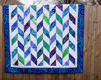 Custom Herringbone Quilt, Full Quilt, Bedding, Quilt