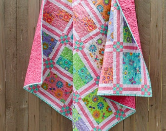 Spring Fling Quilt, Quilted Throw, Lap Quilt, Picnic Quilt, Girl Quilt