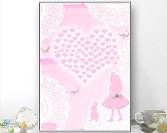 Love Alice and rabbit. Art Illustration, Pink, Art Print, Kids Wall Art Print, Nursery Print.