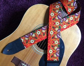 Reserved> Batik sarong guitar strap converted to ukulele length -- shades of orange, yellow, purple and black
