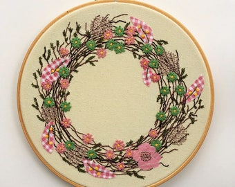 Floral Pink Wreath, Embroidery Hoop Art, Wall Decor, Mixed Media
