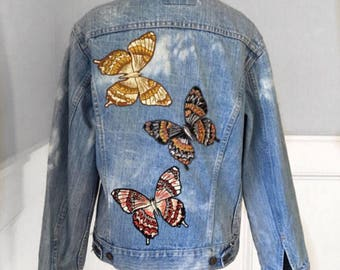 Levi's denim embroidered jacket vintage levi's large  jean jacket New butterfly embroidered patches handmade