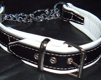 Black on White leather Martingale dog collar