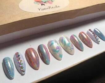 Glue Included | Unicorn Inspired Holographic Iridescent Nails w/Swarovski Diamond | Press On Nails | Glue On Nails | Any Shape | False Nails