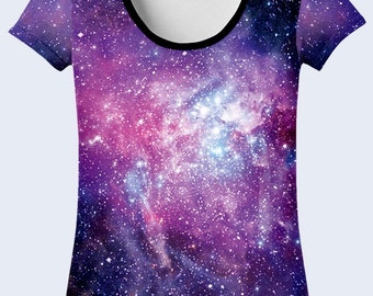 Outer Space T Shirt, Colorful Ladies Top, Purple T Shirt, Galaxy Clothing, Total Print T Shirt, Crew Neck Tee, Astronomy Gift