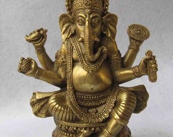 Ganesh Brass Statue (Free Shipping US & International)