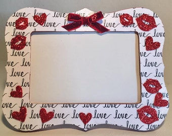 4X6 Glittery Red Kisses Decoupage Photo Frame