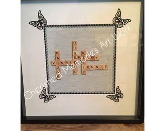 Scrabble letter name frames