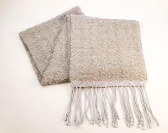 Handwoven Warm Alpaca Wool Scarf Grey