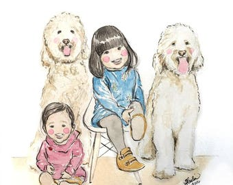 Custom Children's Watercolor Portrait (Up to 4 subjects)