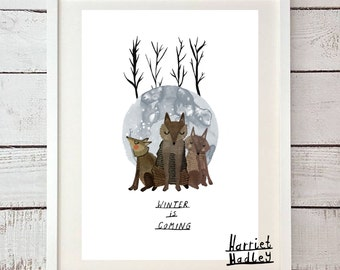 Winter Is Coming Wolf Dire Wolf Game of Thrones Inspired House Stark Print Illustration Home Decor Nursery Art