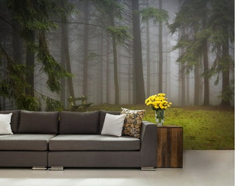 FOREST wallpaper, pine tree wall mural, pine wall mural, forest mural, peel and stick, pines wallpaper, moor wallpaper, wallpaper