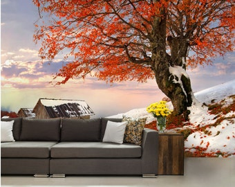 Autumn WALL MURAL, snow wall mural, nature wallpaper, village wall mural, self-adhesive, mountain wallpaper, tree wallpaper, snow wall decal