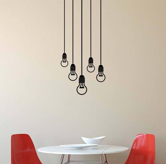 Lightbulb Wall Decal Light Bulbs Electric Lamp Stencil Gift - Custom vinyl wall decals for garage