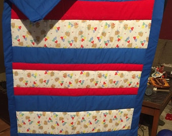 Red and Blue teddy bear baby crib quilt