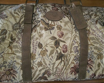 VINTAGE PEGASUS Gray Rose Tapestry Luggage Satchel Made In USA
