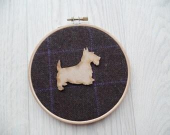 Tweed scottie dog wall hanging