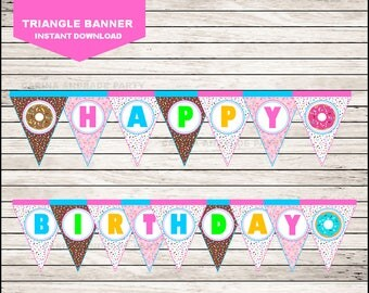 50 Off Sale Donut Triangle Banner instant download, Donut Banner, Donut Party Banner