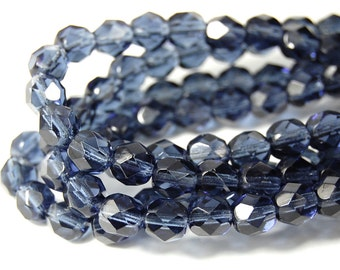 50/pc Montana Blue Czech 6mm Fire-polished Faceted Round Beads