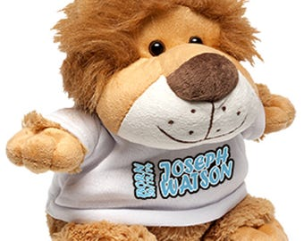 Lion soft toy with custom printed shirt - your text your design - perfect gift for all occasions!