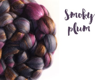 Blended top - 100g - 3.5oz - 23 micron Merino wool - Bamboo - Mulberry silk - SMOKY PLUM