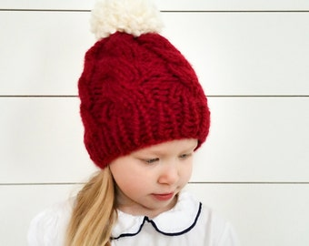 Toddler knitted hat, Cranberry Cable hat, winter toque, gifts under 40, pom pom hat, toddler winter hat, toddler cable hat