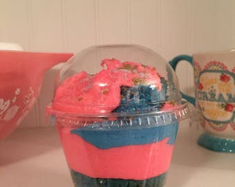 Unicorn cake in a cup