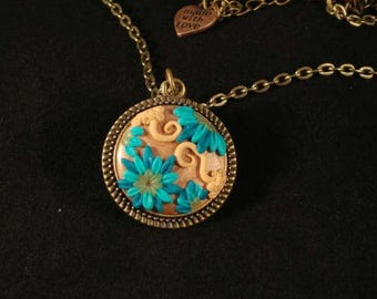 Rose Gold Turqouise Blue Filigree Applique Pendant Antiqued Bronze Chain * Art Jewelry * Handmade Unique Made With Love gift for wife womens