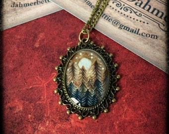 hand painted pendant trees pines forest night nature original miniature art