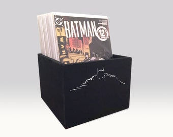 Black Wooden Comic Box with Graphic