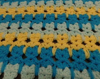 Abstract Cats Baby Afghan Blue and Yellow