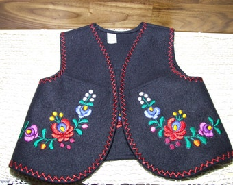 Black Hungarian, Matyó Hand Embroidered Floral Kid Vest