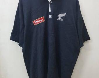 Vintage Canterbury Steinlager New Zealand All Blacks/Canterbury Of New Zealand Rugby Union Polo Shirt Black Colour XL Size Nice Design