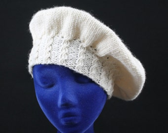 Wool Tam - Hand Knit Cap of Cream Color %100 Wool