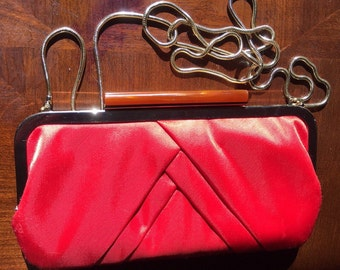 Red Clay Glint Clutch with Gold Strap