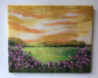 At Sunset, Felted Picture, Felt Art, countryside, embroidery, hand stitched, wall hung art, one of a kind, flower art, artist made, textile
