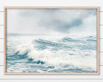 Blue Seascape, Ocean Art, Misty Seascape, Instant Download, Blue and White Art, Coastal Decor, Printable Art