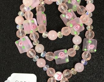 Rose Quartz Wraparound Bracelet (Small)