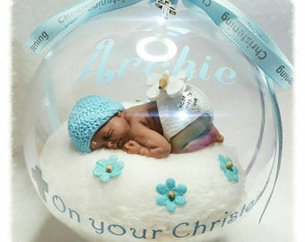Bespoke Christening/Baptism Globe Ornament