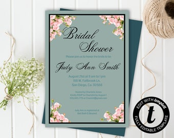 floral bridal shower invitation,bridal shower invitation template,wedding template,bridal shower,editable, mint green ,5x7 template, roses