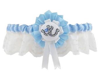 Wedding Garter, garter, Blue garter, Horseshoe Garter, something blue